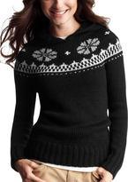 Fair Isle hoodie sweater - black print