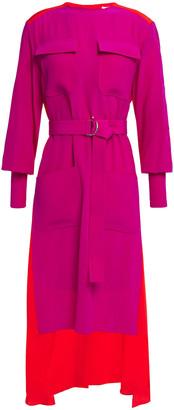 Chloé Asymmetric Two-tone Silk Crepe De Chine Dress