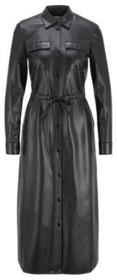 HUGO BOSS Long Sleeved Shirt Dress In Faux Leather - Black