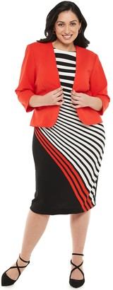 Maya Brooke Plus Size Asymmetrical Striped Dress & Jacket Set
