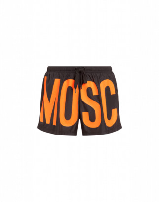 Moschino Maxi Logo Fluo Beach Boxer Man Orange Size L It - (m Us)