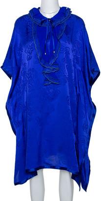 Roberto Cavalli Blue Silk Ruffle Detail Kaftan Dress L