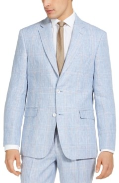 Tommy Hilfiger Men's Classic-Fit THFlex Stretch Blue & Tan Plaid Linen Suit Separate Jacket