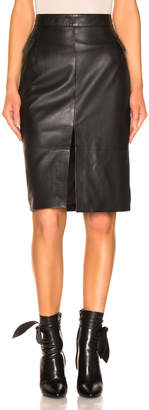 Remain REMAIN Maine Knee Leather Skirt in Black | FWRD