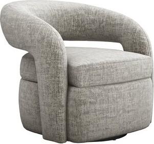 Interlude Targa Swivel Barrel Chair Fabric: Feather