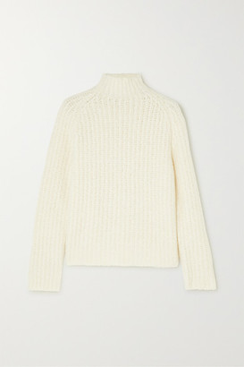 Akris Ribbed Cashmere And Mulberry Silk-blend Sweater - White