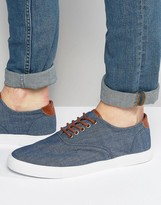 Asos Plimsolls In Blue Chambray With Tan Trims