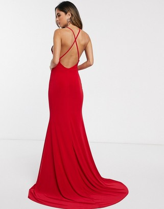 Club L London cross back fishtail maxi dress-Red