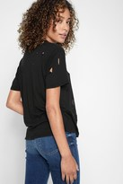 7 For All Mankind Short Sleeve Destructed Tee In Black