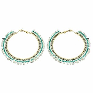 Panacea Mint And White Chip Stone Hoop Earring One Size