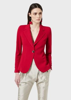 Giorgio Armani Single-Breasted Jacket With Embossed Fabric