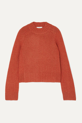 Vince Cropped Melange Cashmere Sweater - Red