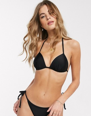 New Look moulded triangle bikini top in black