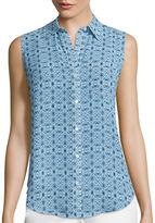 Liz Claiborne Sleeveless Woven Button-Front Shirt