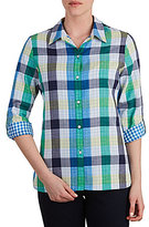 Allison Daley Long Roll-Tab Sleeve Buffalo Plaid Button-Front Blouse