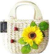 Donalworld Cartoon Handbag Pastoral Style Natural Corn Husk Sall Top-handle Beach Casual Handbag