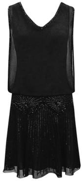 J Kara Beaded V-Neck Dress