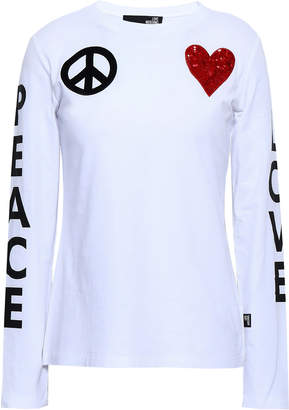Love Moschino Appliqued Printed Cotton-blend Jersey Top