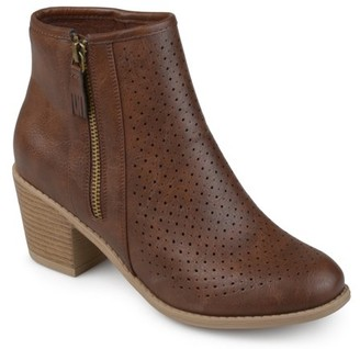 Brinley Co. Wome'ns Faux Leather Faux Wood Stacked Heel Laser-cut Booties