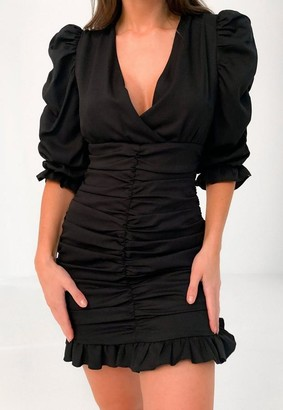 Missguided Black Ruched Puff Wrap Mini Dress