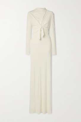Tom Ford Tie-front Cutout Jersey Gown - White