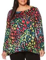 Rafaella Plus Long-Sleeve Back Detail Textured Top
