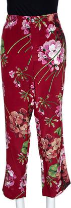 Gucci Red Floral Printed Silk Pajama Pants M