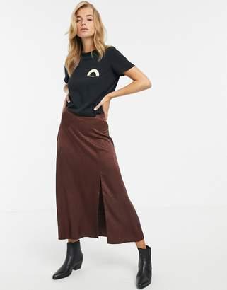 New Look satin split midi skirt in animal-Brown