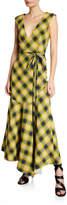 Derek Lam Sleeveless Plaid V-Neck Flounce Dress