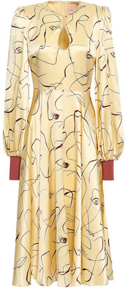 Roksanda Cutout Printed Silk-satin Midi Dress