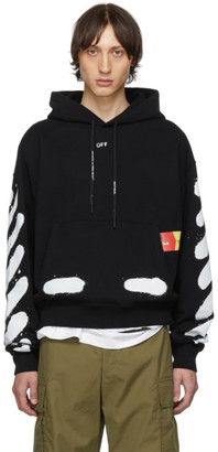 Off-White Off White SSENSE Exclusive Black Incomplete Spray Paint Hoodie