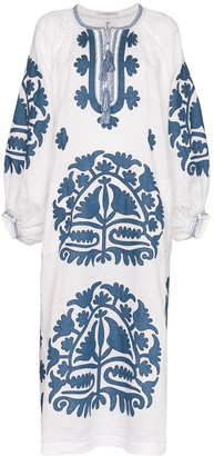 Vita Kin Shalimar embroidered linen kaftan