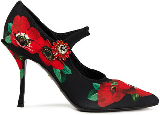 Dolce & Gabbana Crystal-embellished Floral-print Stretch-jersey Mary Jane Pumps