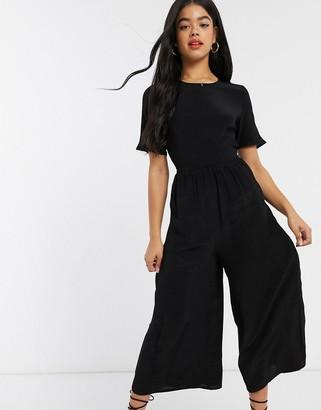 Asos DESIGN tea jumpsuit with button back detail in black