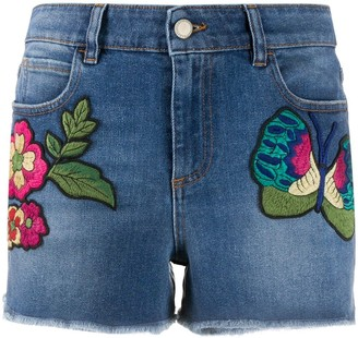 RED Valentino Floral-Embroidered Denim Shorts