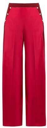 Valentino High Rise Wide Leg Silk Crepe De Chine Trousers - Womens - Pink Multi