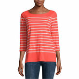 Liz Claiborne Long Sleeve Crew Neck Button Back Top-Talls