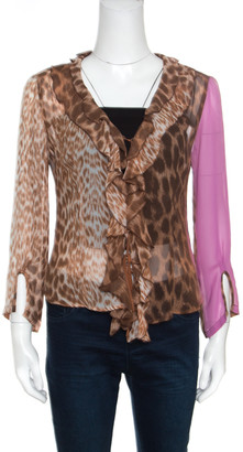 Just Cavalli Leopard Printed Sheer Criss Cross Tie Up Detail Ruffled Blouse M