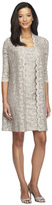 Alex Evenings 4121655 Square Neck Lace Dress with Open Jacket