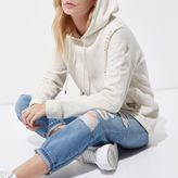 River Island Womens Petite cream distressed oversized hoodie