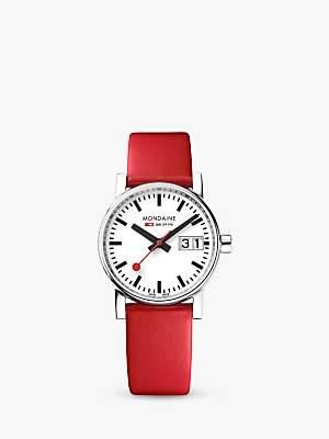 Mondaine Unisex Evo 2 Date Leather Strap Watch