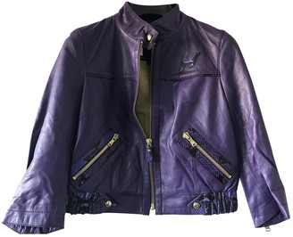 Hogan Purple Leather Leather Jacket for Women