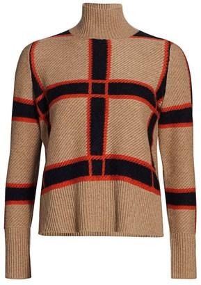 Akris Punto Plaid Wool-Blend Knit Turtleneck Sweater