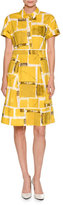 Piazza Sempione Square-Print Short-Sleeve A-Line Dress, Yellow