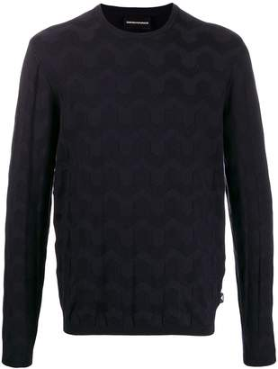 Emporio Armani patterned crew neck jumper