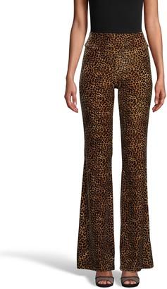 Nicole Miller Leopard Velvet Bell Bottom Pant