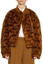 Jil Sander Zip-Front Furry Mohair Bomber Jacket w Elastic Band Collar