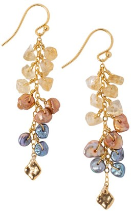 Chan Luu 18K Goldplated, 6MM Two-Tone Keshi Pearl & Citrine Cascading Drop Earrings