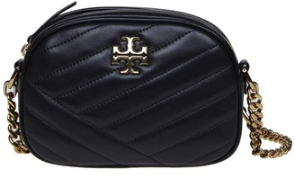 Tory Burch Shoulder Strap Kira Chevron Small In Black Leather