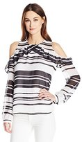 GUESS Women's Long Sleeve Adler Cold Shoulder Blouse